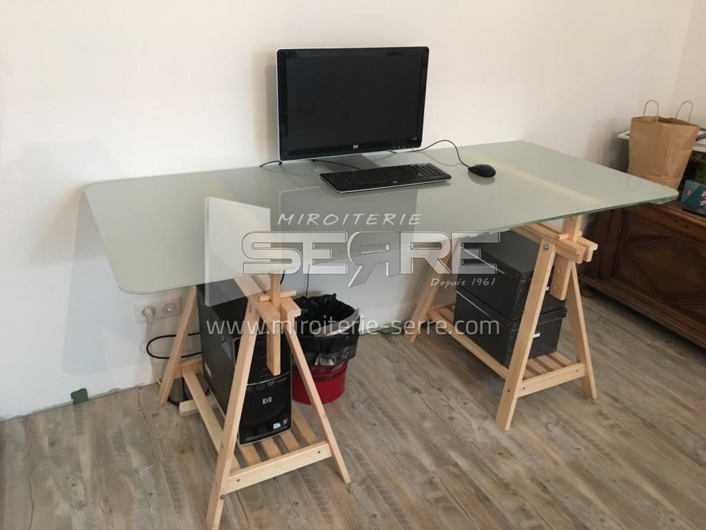Etude et fabrication table de bureau en verre feuillet miroiterie serre - Table de bureau en verre ...